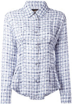 Vivienne Westwood embroidered pleated detail shirt - women - Cotton/Linen/Flax - 46