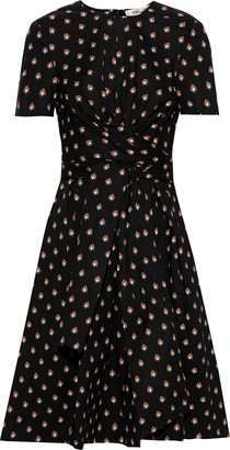 Diane von Furstenberg Quinton Tie-front Printed Cotton-blend Poplin Dress