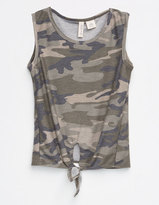 SKY AND SPARROW Tie Front Girls Camo Tank