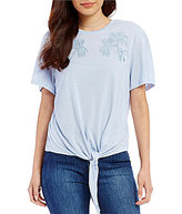 Buffalo David Bitton Palms-Tee Embroidered Tie Front Top