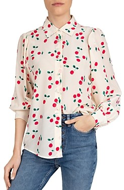 The Kooples Naive Silk Cherry Printed Blouse