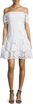 Nicholas Off-The-Shoulder Sunflower-Lace Dress, White