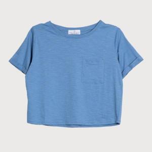 Know The Origin - Cornflower Blue Cropped Organic Slub T Shirt - XS - Blue