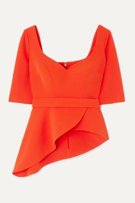 Safiyaa Pilar Belted Asymmetric Stretch-crepe Peplum Top - Orange