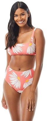 Kate Spade Falling Flower Square Neck Bikini Top w/ Adjustable Straps (Black) Women's Swimwear