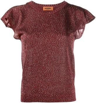 Missoni Metallic-Thread Short-Sleeve Knit Top