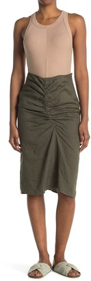 Stateside Linen Ruched Front Slit Skirt