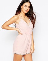 AX Paris Romper with Eyelash Lace Trim