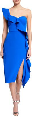 Aidan Mattox Asymmetric Ruffle One-Shoulder Crepe Dress