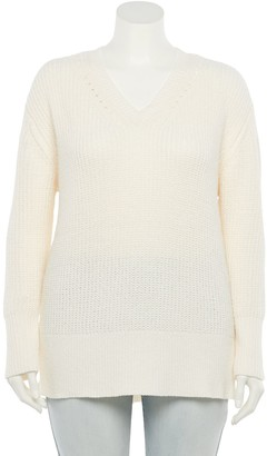 So Juniors' Plus Size Chenille V-Neck Sweater