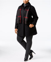 London Fog Plus Size Single-Breasted Walker Coat with Scarf