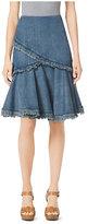 Michael Kors Frayed Denim Flared Skirt