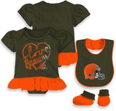 NFL Cleveland Browns 3-Piece Girl Creeper Bib and Bootie Set