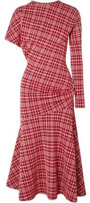 Calvin Klein Asymmetric Prince Of Wales Checked Cady Midi Dress