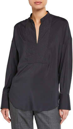 Brunello Cucinelli Monili-Beaded Chevron Silk Blouse
