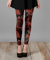 Lily Black & Red Floral Slim-Fit Pants - Plus Too