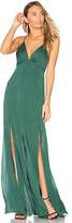 Haute Hippie Low Back Fitted Cami Gown in Green