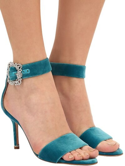 Thumbnail for your product : Manolo Blahnik 90mm Sanghal Embellished Velvet Sandals