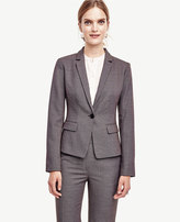 Ann Taylor Petite Birdseye Tropical Wool One Button Jacket