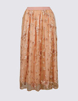 Marks and Spencer Embroidered A-Line Midi Skirt