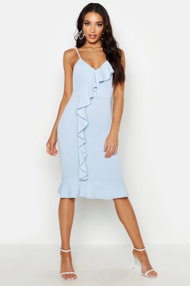 boohoo V Neck Ruffle Front Hem Midi Dress
