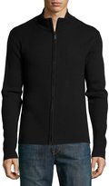 Neiman Marcus Ribbed Zip-Front Sweater, Black