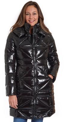 Fleet Street Women's Long Faux Down Shiny Coat with Detachable Hood