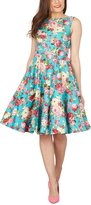 Black Butterfly Clothing Black Butterfly 'Audrey' Vintage Divinity 50's Dress (Midnight Blue - Pink Floral, US)