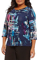 Investments Plus Essentials Scoop Neck 3/4 Sleeve Printed Knit Top