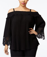 INC International Concepts Plus Size Off-The-Shoulder Lace-Trim Top, Only at Macy's