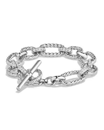David Yurman 12.5mm Cushion Link Chain Bracelet with Diamonds