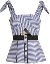 Self-Portrait Tie-shoulder striped cotton top