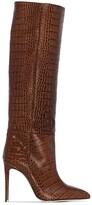 Paris Texas knee-high crocodile-effect boots