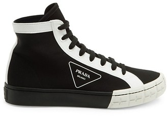 Prada Gabardine High-Top Sneakers