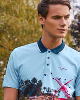 Ted Baker Placement print cotton polo shirt