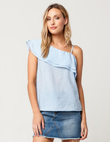 Blu Pepper One Shoulder Flounce Womens Top