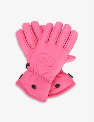 Goldbergh Freeze logo-embossed leather ski gloves