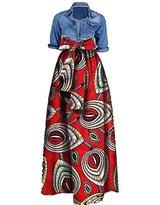 Ourfashion Womens African Print Dashiki Dress Long Maxi A Line Skirt Ball Gown