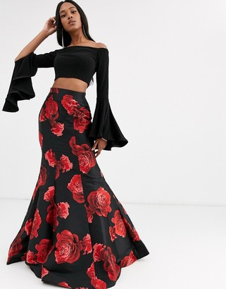 Jovani two piece with floral skirt-Multi
