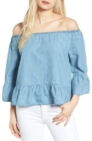 Cupcakes And Cashmere Women's Bishop Off The Shoulder Chambray Top