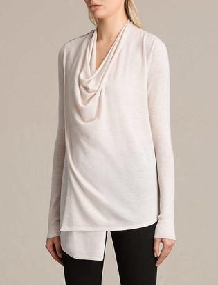 AllSaints Drina draped merino wool cardigan