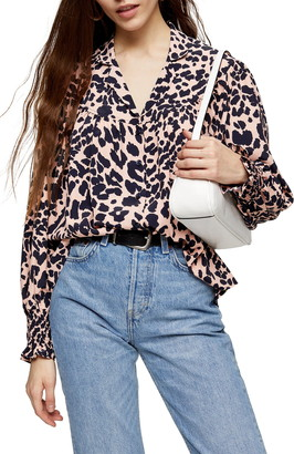 Topshop Yoke Detail Animal Print Top