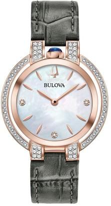 Bulova Women's 98R268 Rubaiyat Rosetone Stainless Diamond Accent Grey Leather Strap Watch