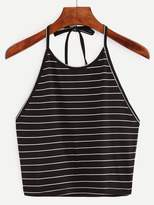 Shein Halter Striped Crop Top