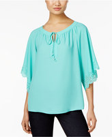 NY Collection Petite Laser-Cut Peasant Top