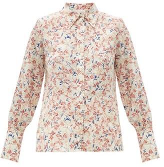 Chloé Floral-print Silk Blouse - Pink White