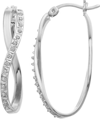 Mystique Diamond Platinum Over Silver Oval Infinity Hoop Earrings