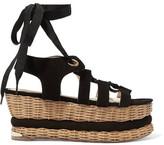 Paloma Barceló Vivianne Suede Basket Wedge Sandals