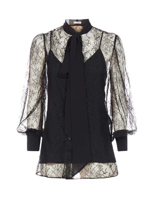 Givenchy Pussybow Lace Sheer Blouse