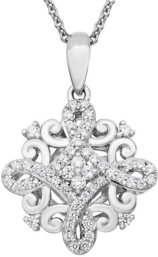 Vera Wang Simply vera special edition sterling silver 1/3-ct. t.w. diamond swirl pendant